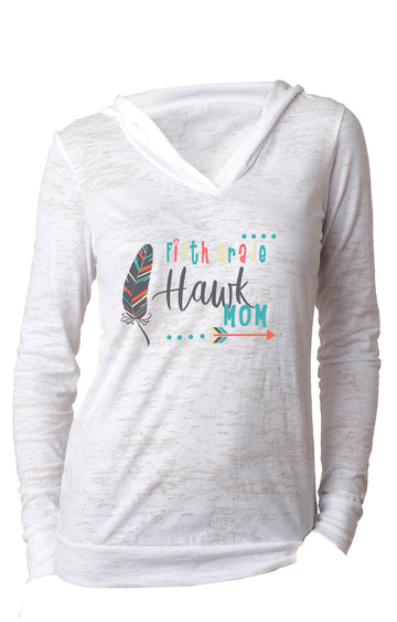 Fifth Grade mom WOMENS BURNOUT HOODY White