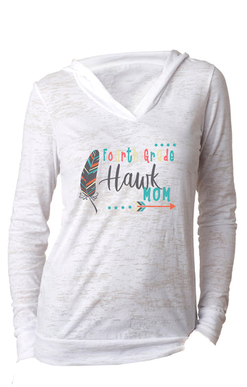 Fourth Grade mom WOMENS BURNOUT HOODY White