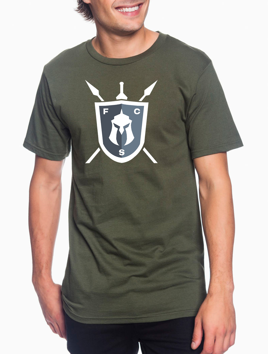 FCS Large Logo White Adult Lightweight Tee Military Green