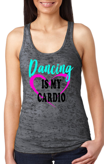 Dancing is my cardio women's burnout racer back tank grey