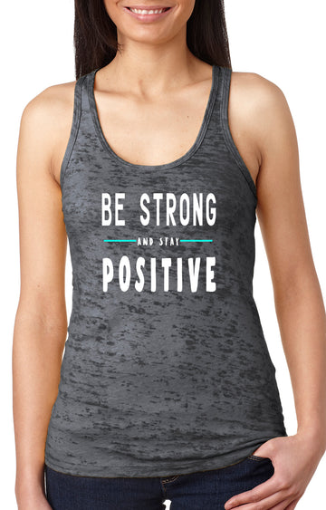 Be strong women's burnout racer back tank grey