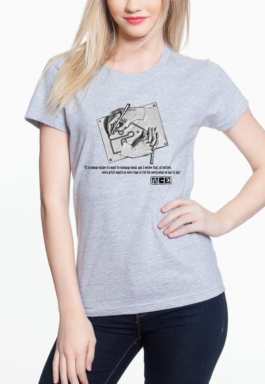 M.C. Escher Women's Lightweight Tee Heather Grey