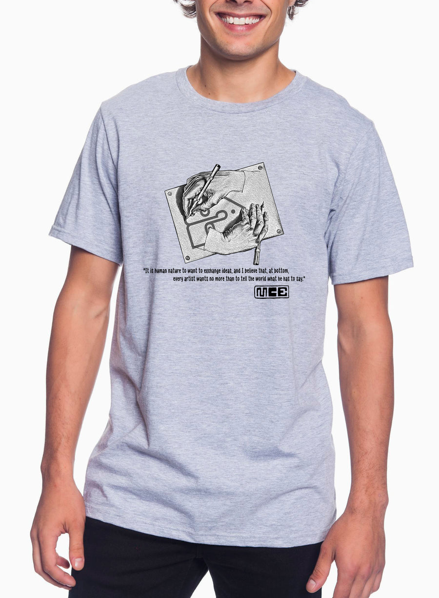 M.C. Escher Tribute Adult Lightweight Tee Heather Grey