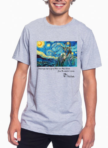 Van Gogh Tribute Adult Lightweight Tee Heather Grey