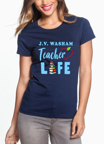 Teacher Life Women's Lightweight Crew Neck Tee Navy