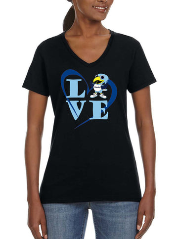 Love Hawk - Women's Lightweight V-Neck Tee Black