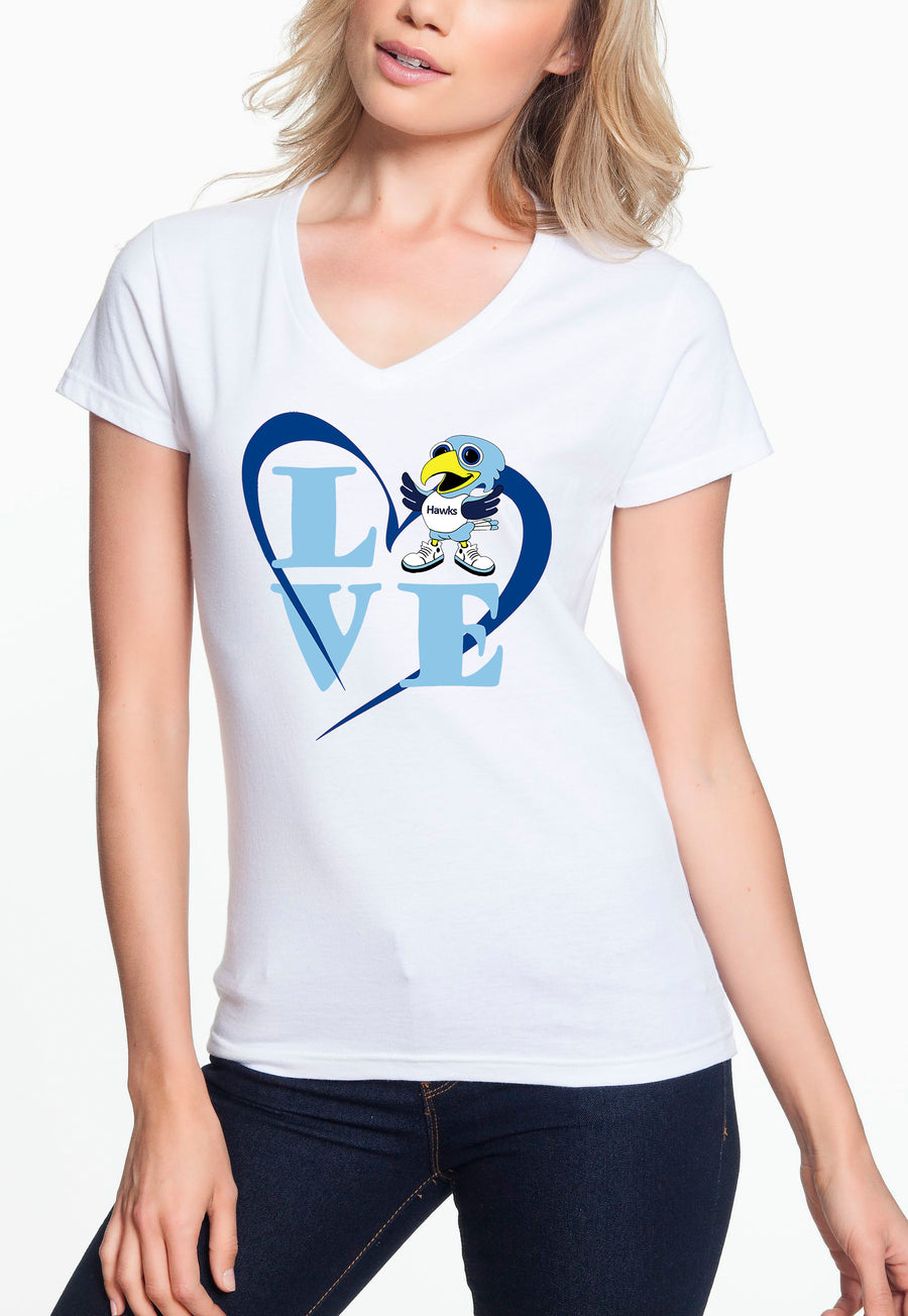 Love Hawk - Women's Lightweight V-Neck Tee white