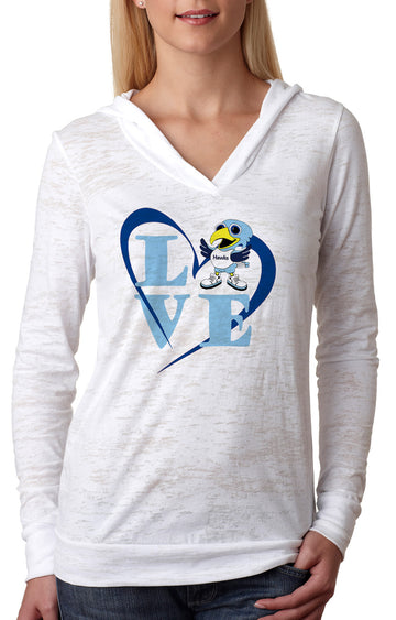 Love HAWK WOMENS BURNOUT HOODY white
