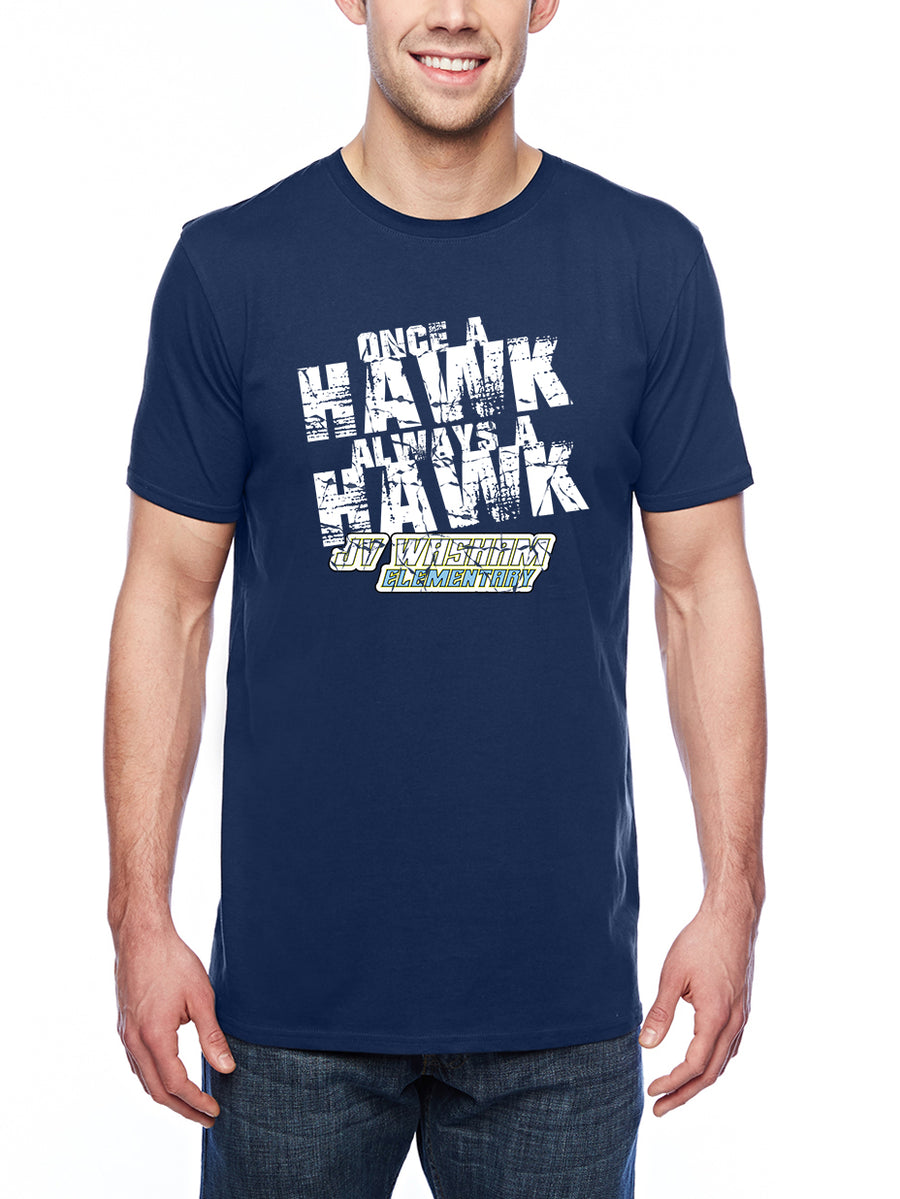 Always a Hawk Adult Lightweight Tee Navy