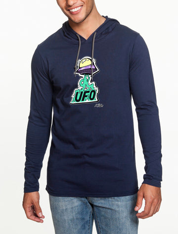UFO Long Sleeve hooded T-shirt Navy