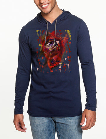 Eye Long sleeve hooded T-shirt Navy