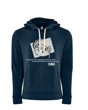 M.C. Escher Tribute Next Level Fleece Pullover Hoodie Midnight Navy