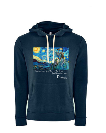 Van Gogh Tribute Next Level Fleece Pullover Hoodie Midnight Navy