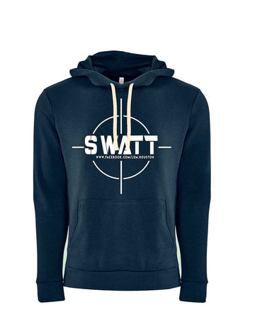 SWATT White Next Level Fleece Pullover Hoodie Midnight Navy