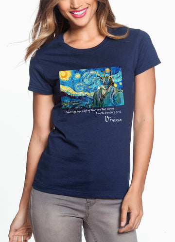 Van Gogh Women's Lightweight Tee Navy