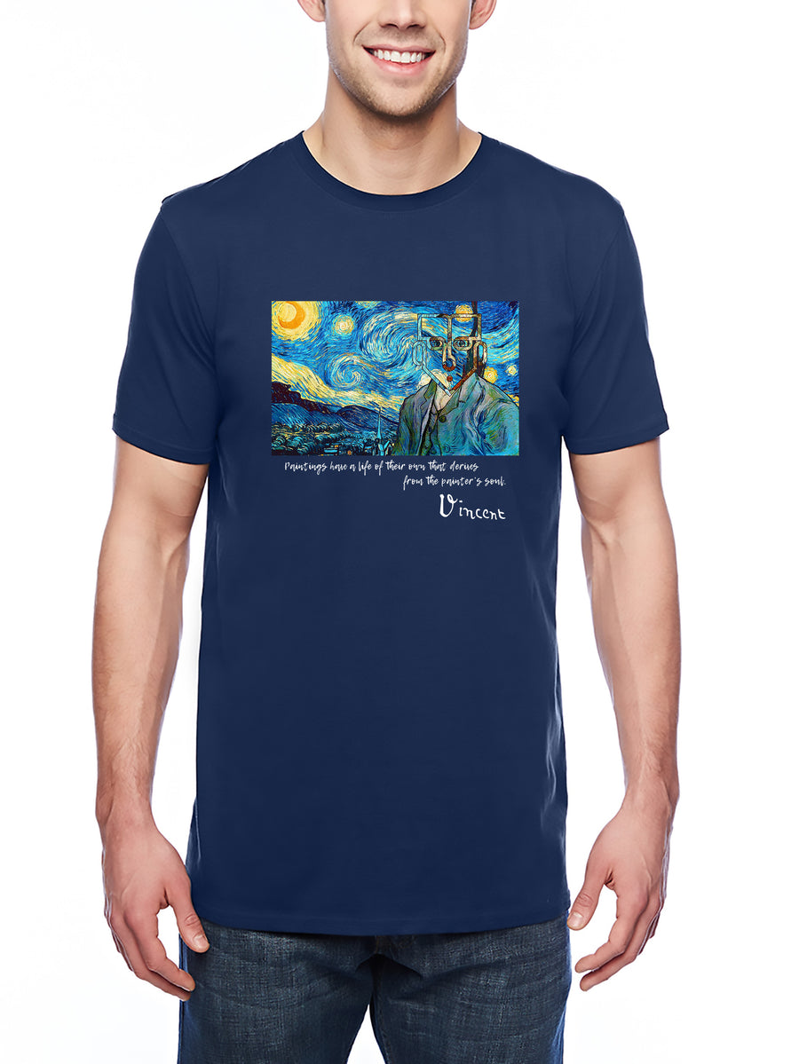 Van Gogh Tribute Adult Lightweight Tee Navy