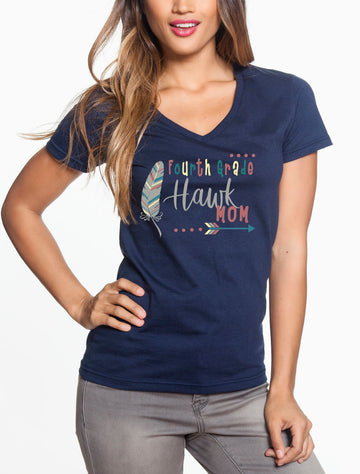 Fourth Grade Mom - Women's Lightweight V-Neck Tee Navy
