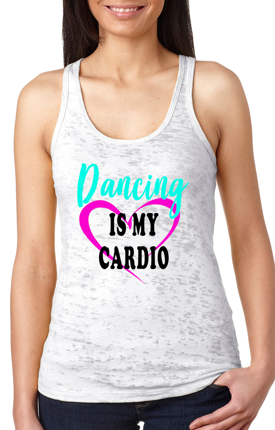 Dancing is my cardio women's burnout racer back tank white