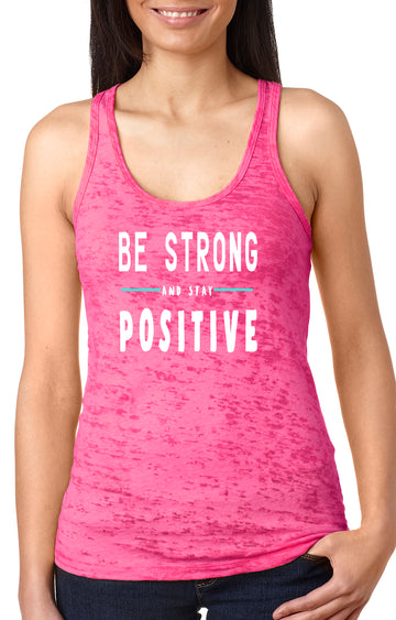 Be strong women's burnout racer back tank shocking pink