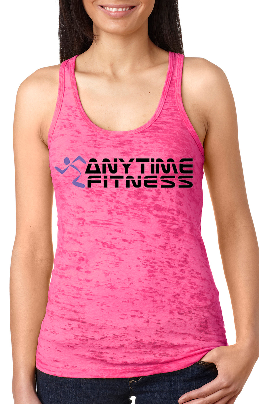 Anytime Fitness women's burnout racer back tank Pink