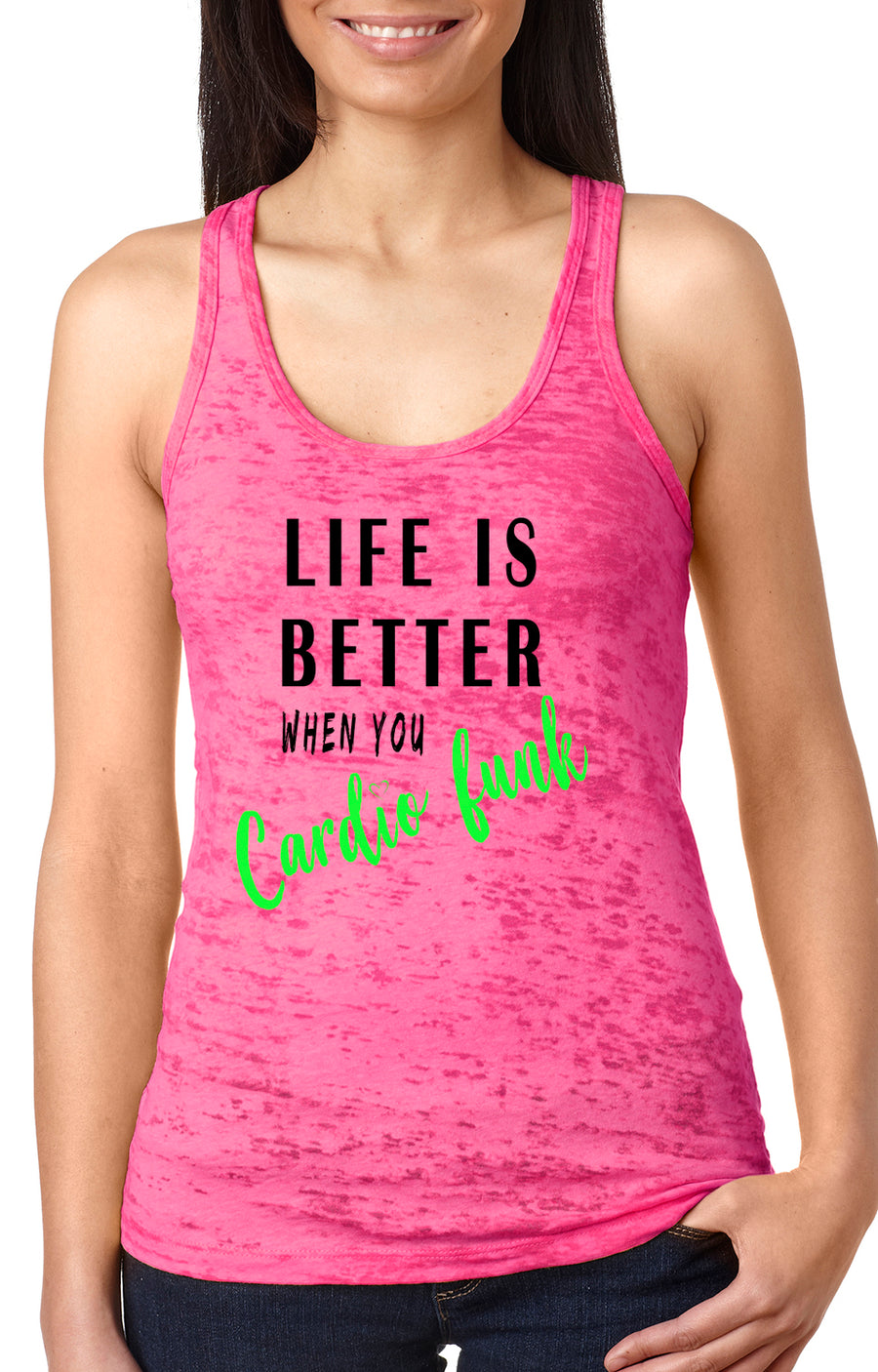 Life is better women's burnout racer back tank shocking pink