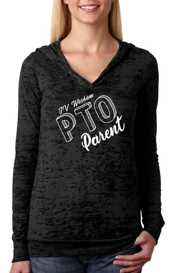 PTO parent WOMENS BURNOUT HOODY black