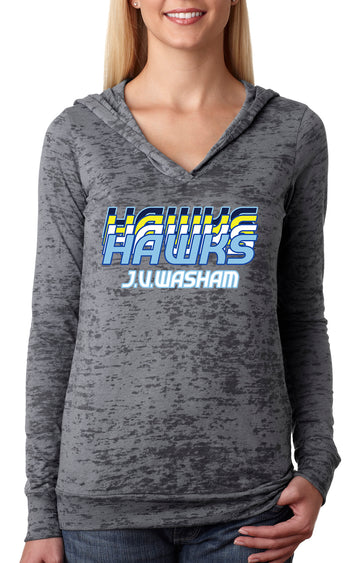 Retro Hawk WOMEN'S BURNOUT HOODIE Grey
