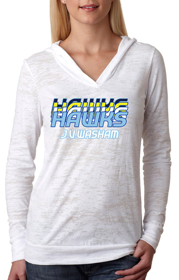 Retro Hawk WOMENS BURNOUT HOODIE White