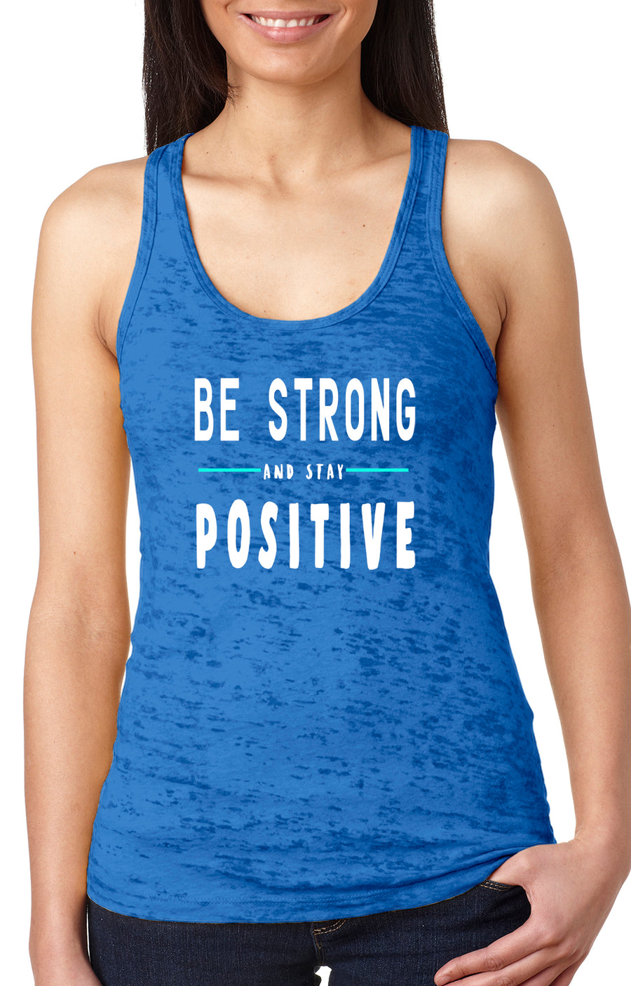 Be strong women's burnout racer back tank royal