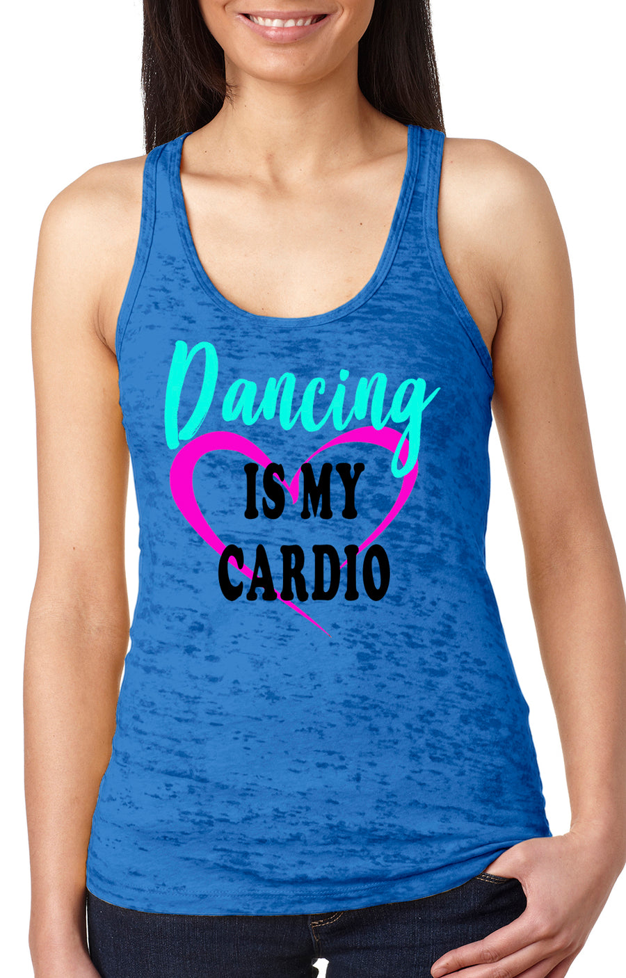 Dancing is my cardio women's burnout racer back tank royal