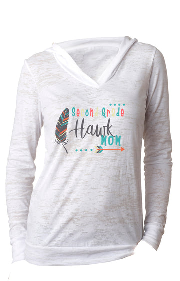 Second Grade mom WOMENS BURNOUT HOODY White