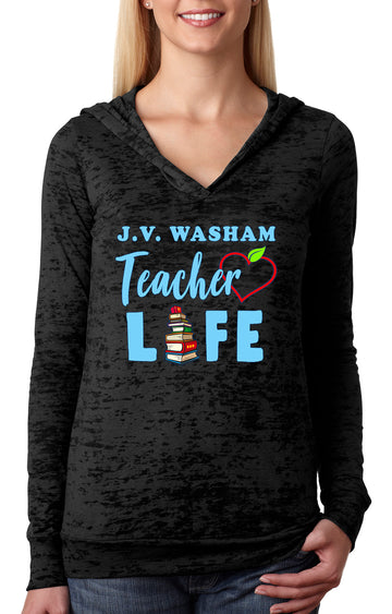 Teacher Life WOMEN'S BURNOUT HOODIE Black
