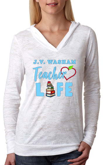 Teacher Life WOMEN'S BURNOUT HOODIE White