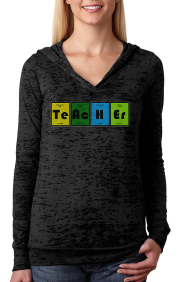 Teacher Table WOMENS BURNOUT HOODY black
