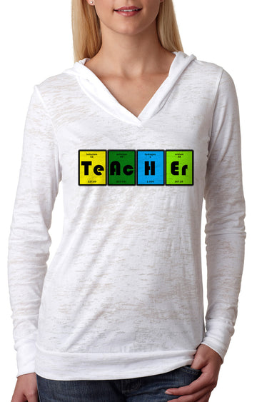 Teacher Table WOMENS BURNOUT HOODY white