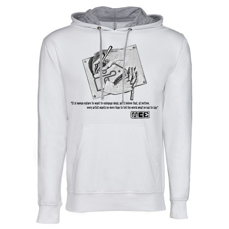 M.C. Escher Next Level French Terry Hoodie White and grey