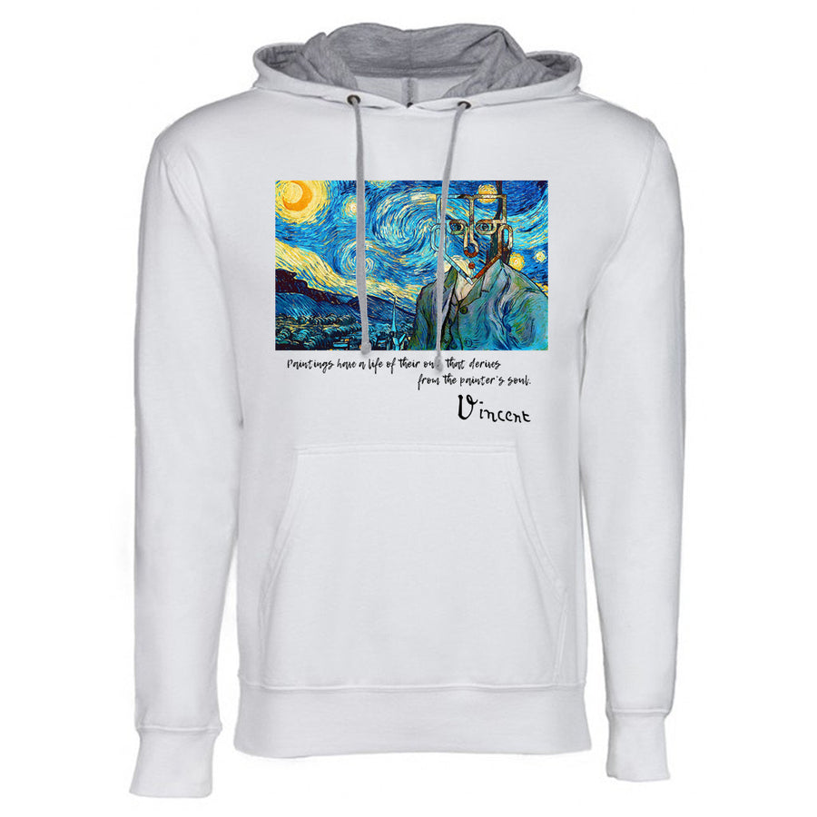 Van Gogh Next Level French Terry Hoodie White and grey