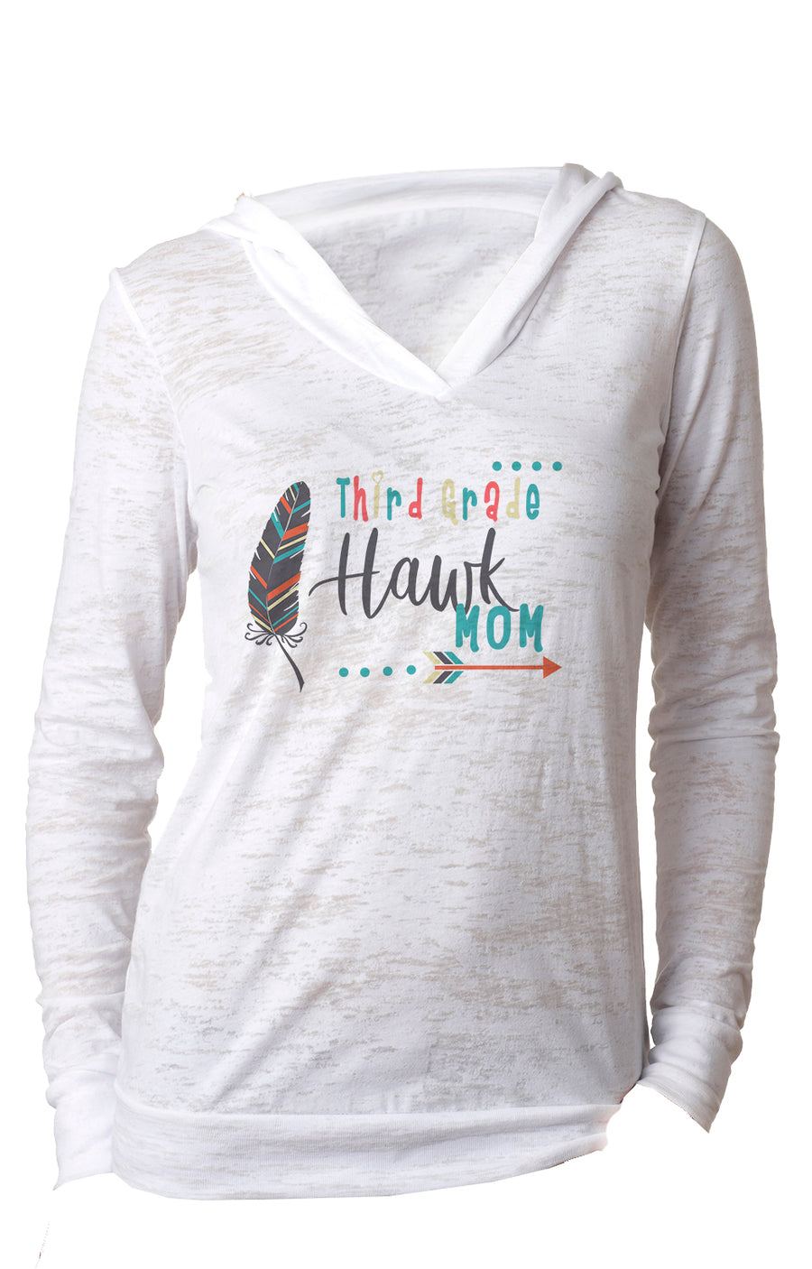 Third Grade mom WOMENS BURNOUT HOODY White