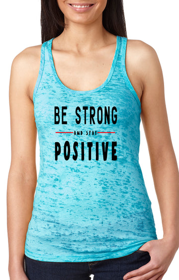 Be strong women's burnout racer back tank turquoise
