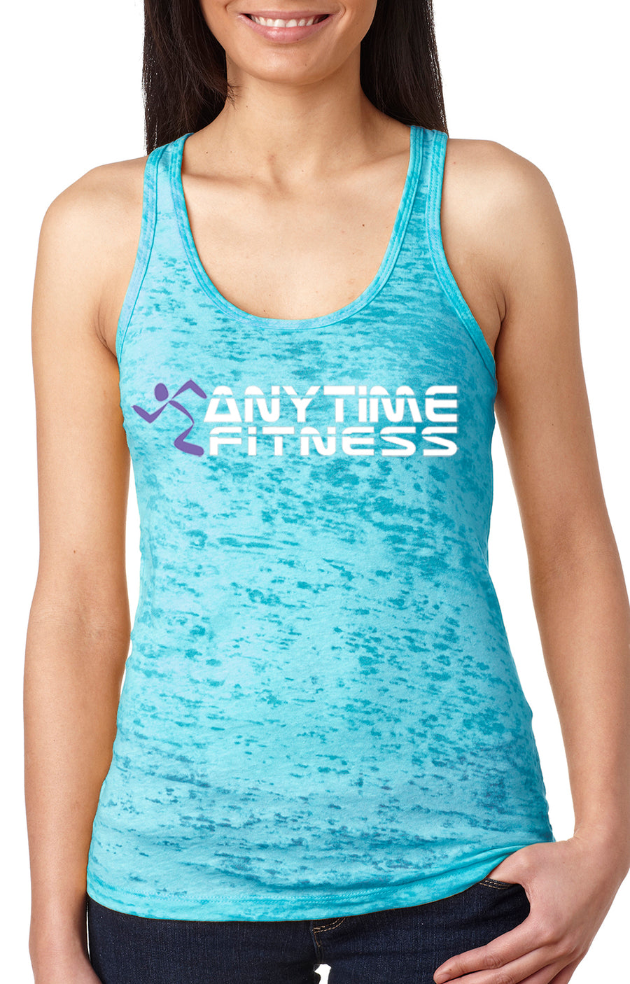 Anytime Fitness women's burnout racer back tank Turquoise