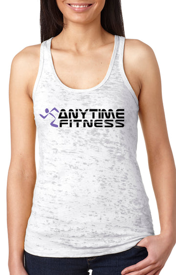 Anytime Fitness women's burnout racer back tank White