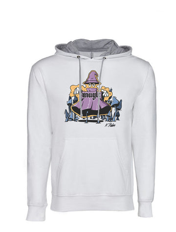 Magic Next Level French Terry Hoodie White and Grey