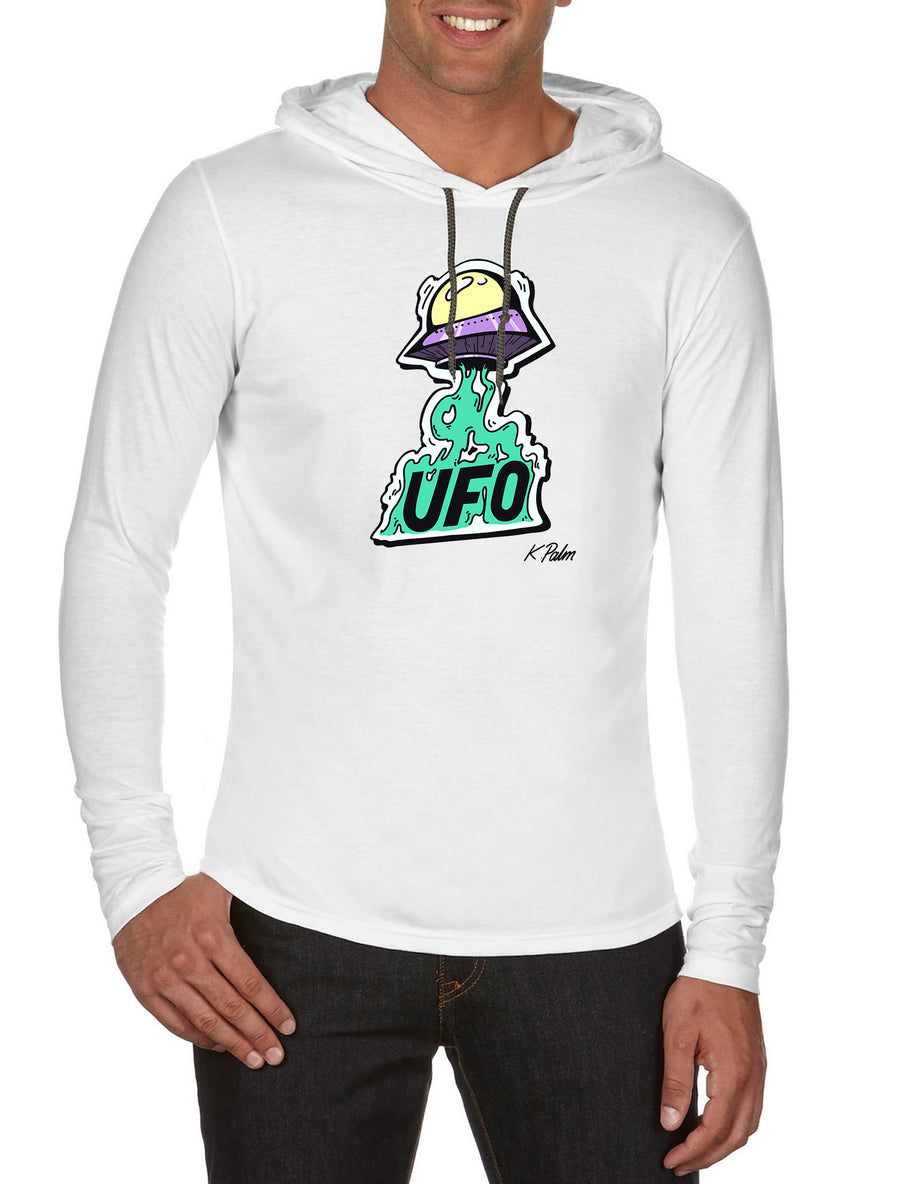 UFO Long Sleeve hooded T-shirt White