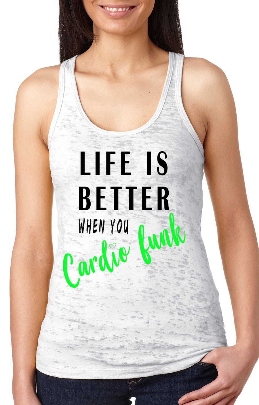 Life is better women's burnout racer back tank white