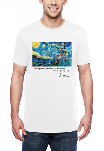 Van Gogh Tribute Adult Lightweight Tee White