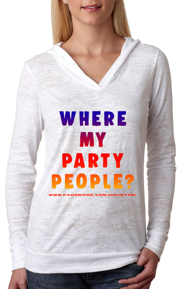 Party people WOMENS BURNOUT HOODIE White