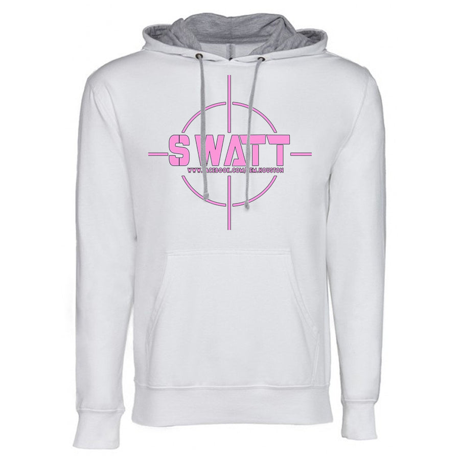 SWATT Pink Next Level French Terry Hoodie White and Grey