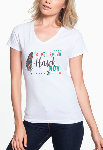 Fourth Grade Mom - Women's Lightweight V-Neck Tee White