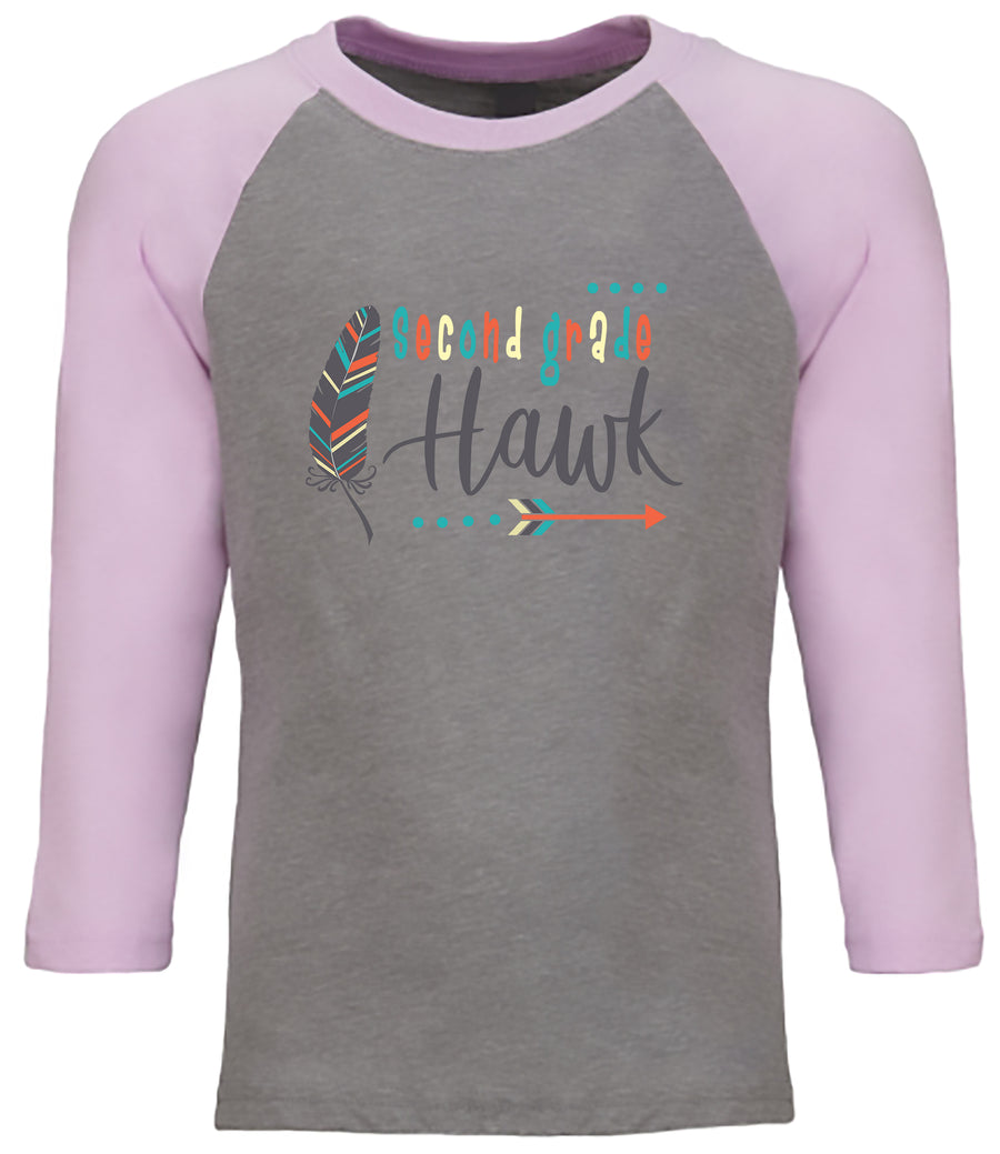 Second Grade Light Pink/ Gray  YOUTH CVC 3/4 RAGLAN