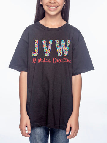 JVW Floral 1 Youth Lightweight Tee Black